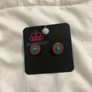Copper and Teal Stud Earrings